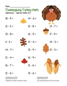 """Thanksgiving Turkey Math"" Subtract Within 20 - FUN! (black line & color)"