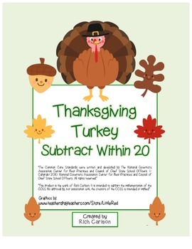 """Thanksgiving Turkey Math"" Subtract Within 20 - FUN! (blac"