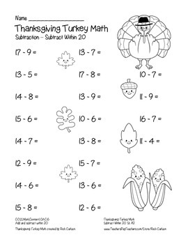 """""""Thanksgiving Turkey Math"""" Subtract Within 20 - FUN! (black line & color)"""