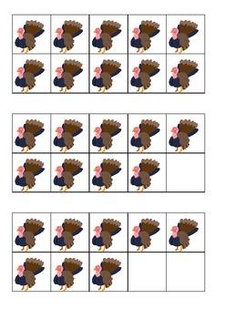 Thanksgiving Turkey Ten Frames Games