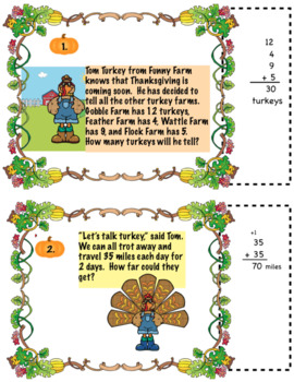 Thanksgiving Turkey Math Word Problems For 2nd Grade: Common Core Aligned