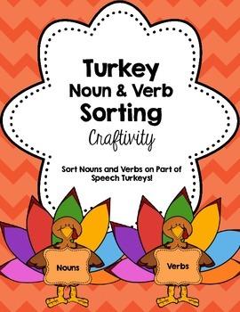 Thanksgiving Turkey Noun & Verbs Sorting Craftivity