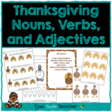 Thanksgiving Turkey Nouns, Adjectives, & Verbs - Worksheets and Center Activity