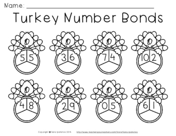 Thanksgiving Turkey Number Bonds