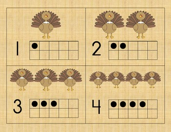 Thanksgiving Turkey Number Cards 1-10