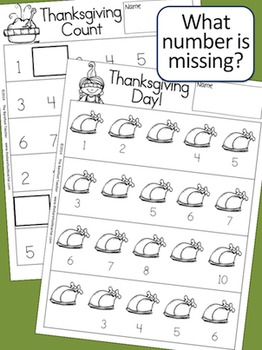 Thanksgiving Activities Counting Practice & Pocket Chart Numbers
