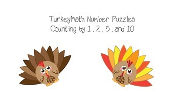 Thanksgiving Turkey Number Order Puzzle - Count by 1, 2, 5, 10