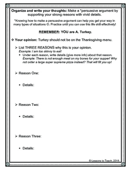 Thanksgiving Turkey Opinion Writing Packet (Grayscale)