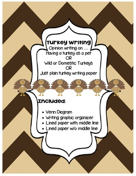 Thanksgiving Turkey Opinion Writing with Venn Diagram & Graphic Organizer
