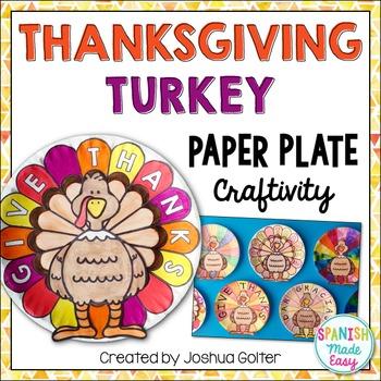 Thanksgiving Turkey Paper Plate Craftivity (English and Spanish)