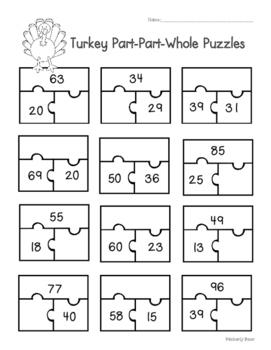 Thanksgiving Turkey Part-Part-Whole Puzzles Worksheet