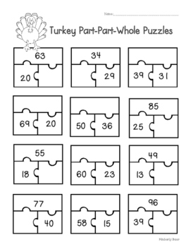 Thanksgiving Turkey Part-Part-Whole Puzzles Worksheet