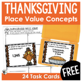 Place Value Task Cards Thanksgiving Themed