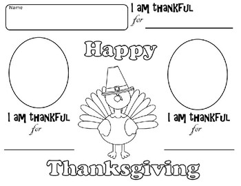 Thanksgiving Turkey Place mats I am Thankful For
