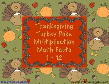 Thanksgiving Turkey Poke Multiplication Facts 1-12