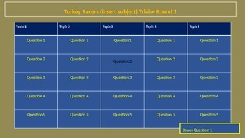 Thanksgiving Turkey Racers (trivia template)