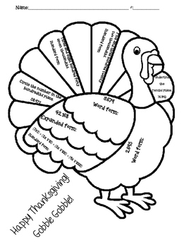 Thanksgiving Turkey Read and Write Decimals Activity Sheet
