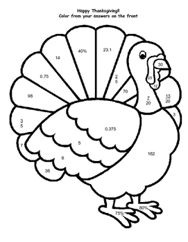 Thanksgiving Turkey Review - Fraction, Decimal, Percent