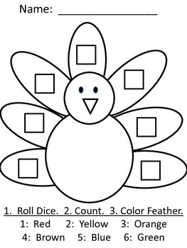 Thanksgiving Math; Turkey Roll, Count, Color