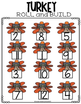 Thanksgiving Turkey Roll and Build Math Center