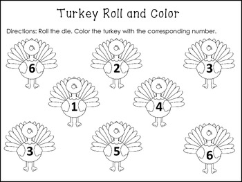 Thanksgiving Turkey Roll and Color Freebie