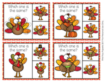 Thanksgiving Turkey Same or Different Clip Cards
