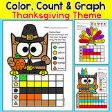 Thanksgiving Activities Color, Count & Graph Shapes Worksheets