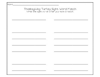Thanksgiving Turkey Sight Word Match Game