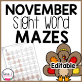 Thanksgiving Turkey Sight Word Mazes