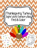 Thanksgiving Turkey Sight Word Sensory Bag Find & Color