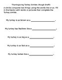 Thanksgiving Turkey Simile Activity