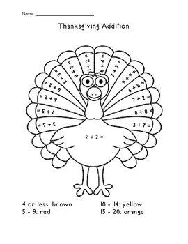 Thanksgiving Turkey {Simple Addition}