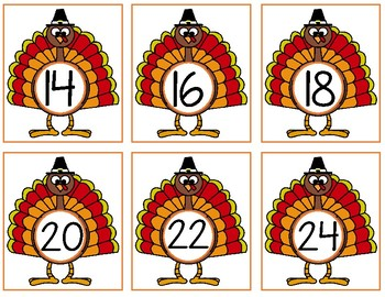 Thanksgiving Turkey Skip Counting Cards