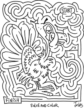 Thanksgiving Turkey Solve and Color Maze