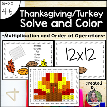 Thanksgiving Turkey Solve and Color (Multiplication and Order of Operations)