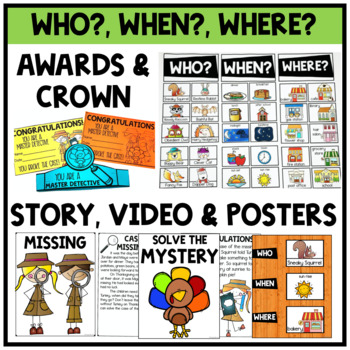 Thanksgiving Turkey Solve the Mystery Math & ELA Task Card Activity 2nd Grade