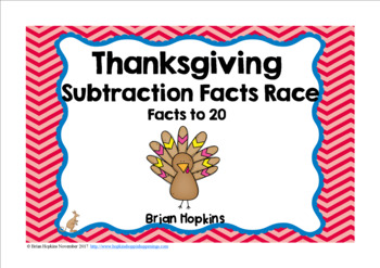Thanksgiving Turkey Subtraction Facts to 20 Race