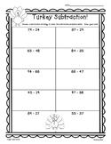 Thanksgiving Turkey Subtraction Practice - 2-Digit Worksheet w/some Regrouping