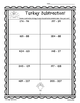 Thanksgiving Turkey Subtraction Practice - 2 and 3-Digit Worksheet w/Regrouping