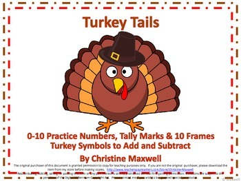 Thanksgiving Turkey Tails Numbers, 10 Frames & Tally Marks