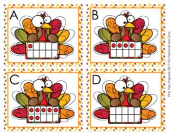 Thanksgiving Turkey Ten Frames Count the Room