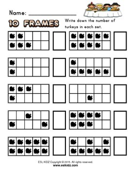 Thanksgiving Turkey Ten Frames Counting and Math