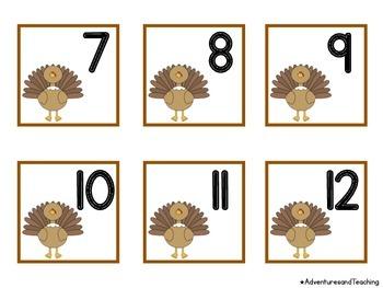 Thanksgiving Turkey Themed Calendar Numbers