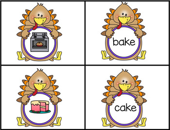 Thanksgiving Turkey Themed Matching Pictures to CVCe Words with The Long A Sound