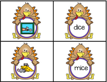 Thanksgiving Turkey Themed Matching Pictures to CVCe Words with The Long I Sound