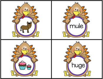 Thanksgiving Turkey Themed Matching Pictures to CVCe Words with The Long U Sound