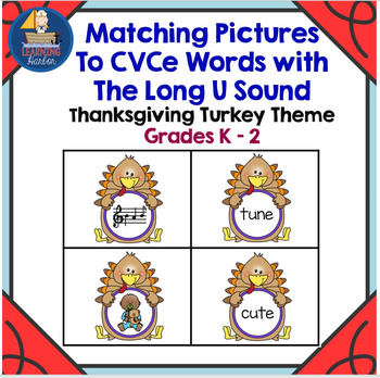 Thanksgiving Turkey Themed Matching Pictures to CVCe Words