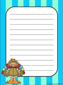 Thanksgiving Turkey Themed Writing Paper