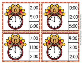 Thanksgiving Turkey Time to the Hour Clip Cards
