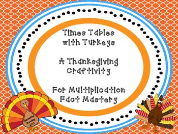 Thanksgiving Turkey Times Tables Multiplication Craftivity